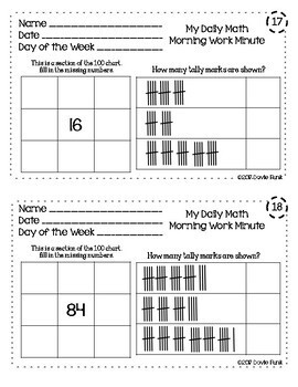 Math All Year - Morning Work Minute Worksheets - March
