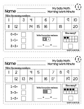 First Grade Math - Morning Work Minute Worksheets - October