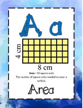 Math Alphabet 2nd Grade - Calm Cool Water Colors