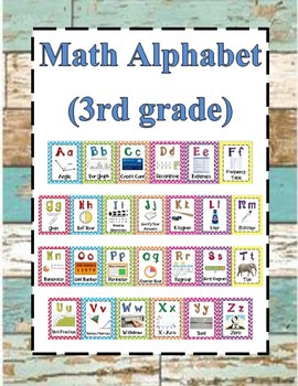 Math Alphabet 3rd Grade STAAR - Teal, White, Brown Shiplap