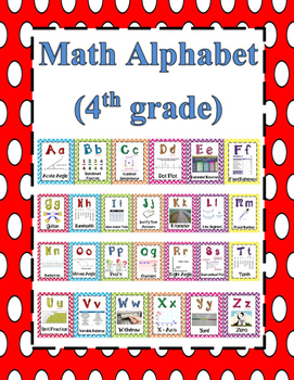 Math Alphabet 4th Grade STAAR Red, Light Blue, Black, Green