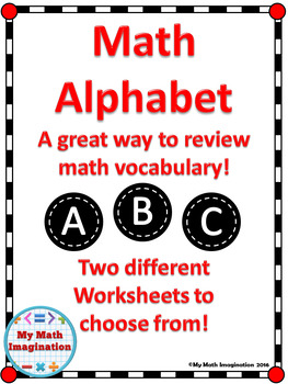 Math Alphabet Activity Sheet - Math Vocabulary