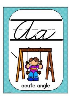 Cursive Alphabet Posters Math: Teal Dot