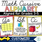 Math Alphabet Posters Cursive   Vocabulary  Classroom Décor