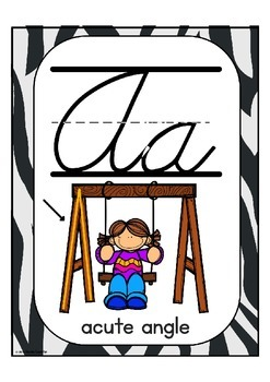 "Cursive Alphabet Posters Math ""Various Animal Prints"""