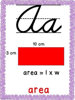 Math Alphabet (Cursive) Purple and Teal