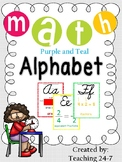 Math Alphabet (Cursive) Purple and Teal