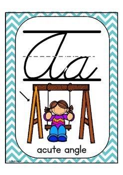 "Cursive Alphabet Posters Math ""Teal Chevron"""