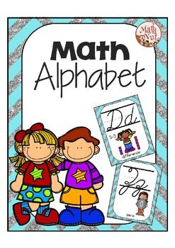Cursive Alphabet Posters Math: Blue and Silver