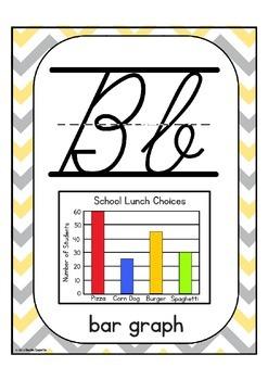 Cursive Math Alphabet Set: Yellow and Grey Chevron