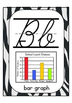 "Cursive Alphabet Posters Math ""Zebra Print"""