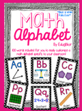 Math Alphabet Posters--Black and White Polka Dots