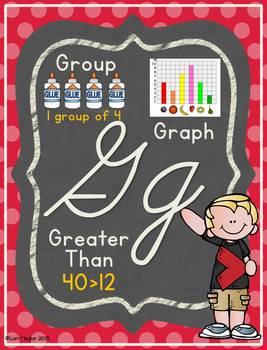 Math Alphabet Posters- Cursive Edition