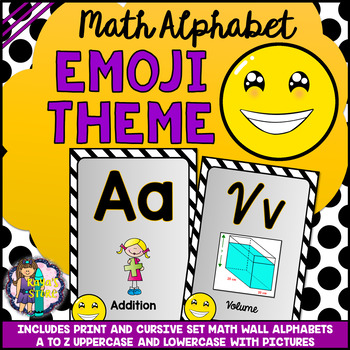 Math Alphabet Posters (Letter, Picture, Name) Emoji Theme BACK TO SCHOOL