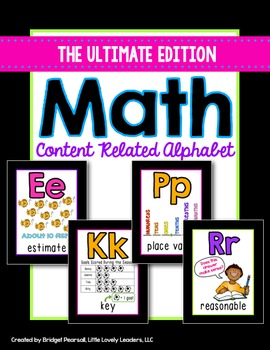 Math Alphabet Posters - Math Vocabulary (black/neon)