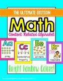 Math Alphabet Posters - Math Vocabulary (bright rainbow)
