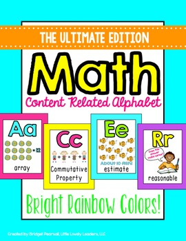 Math Alphabet Posters - Math Vocabulary (bright rainbow)