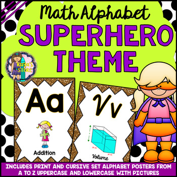 Math Alphabet Posters Superhero Theme BACK TO SCHOOL