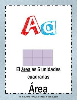 Math Alphabet in Spanish/ Abecedario de matemáticas ESPAÑOL (Posters)