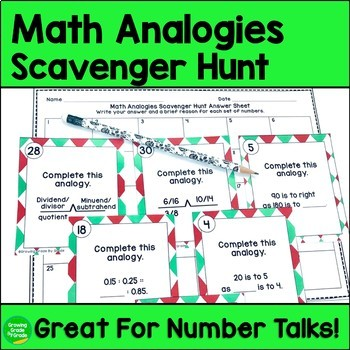 Math Analogies Scavenger Hunt