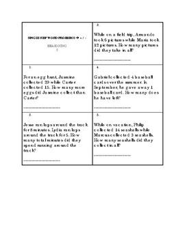 Math Anchor Skills Assessment and Key