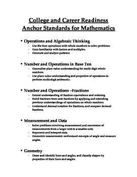 Math Anchor Standards