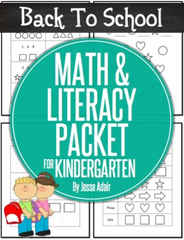 Back To School Math and Literacy Packet for Kindergarten J