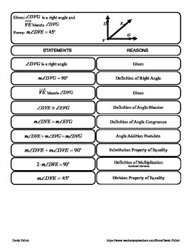 Math: Angle Addition Postulate 2-Column Proofs Cut-out Activity