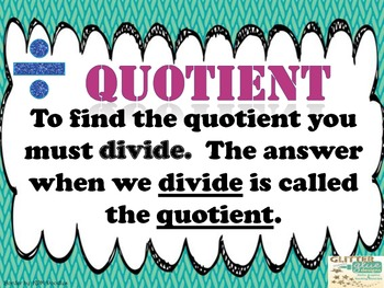 Math Answers Vocab Posters - Sum, Difference, Product, Quotient