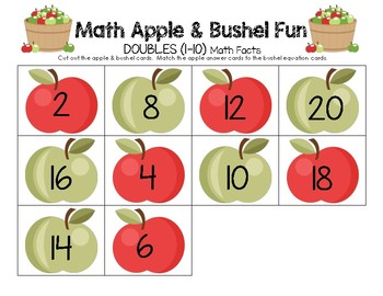 Math Apple and Bushel Fun - DOUBLES (1-10) Math Facts