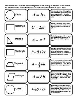 Math: Area, Perimeter, and Circumference Formulas Cut-out Activity