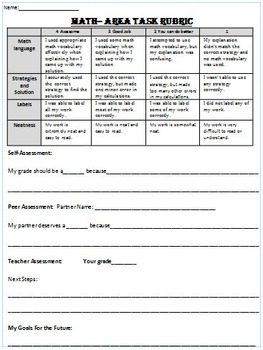 Math Area Task with Answer Key and Rubric