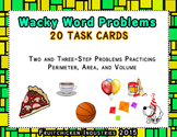 Math Area Volume Real World Wacky Word Problem CHALLENGING Multi-Step TASK CARDS