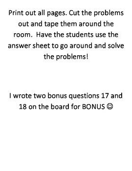 Math Around the Room- Addition