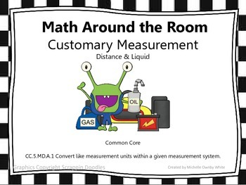 Math Around the Room- Customary Measurement Distance/Liquid