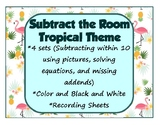 Math Around the Room Subtract the Room Tropical Theme Math Centers Stations