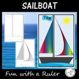 Math Art - Fun with a Ruler - Sailboat