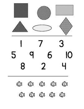 Kindergarten Math Assessment #1 (Week 1)