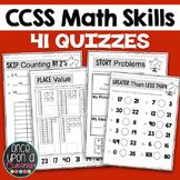 Math Assessment - 41 No Prep 5 Minute Math Quizzes - CCSS for K-2