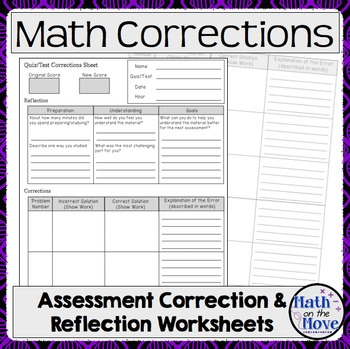 Math Assessment Correction and Reflection Sheet