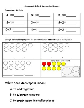 Math Assessment- Decomposing Numbers 9-10