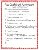 First Grade Math Assessment #2, day 60 (end of first trimester)