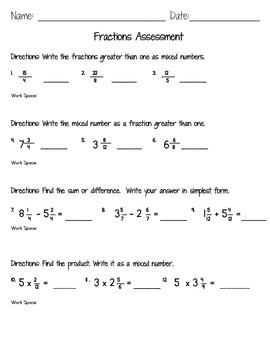 Math Assessment -  Fractions and Mixed Numbers