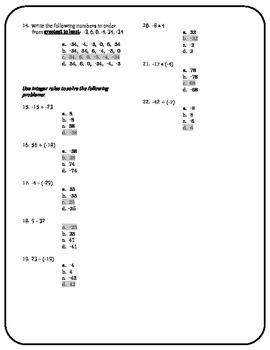 Math Assessment ~ Middle Grades Basic Skills
