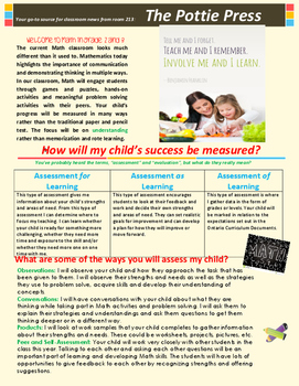Math Assessment Newsletter