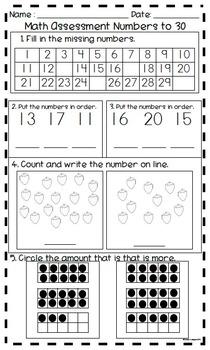 Kindergarten Math Assessment Numbers to 30