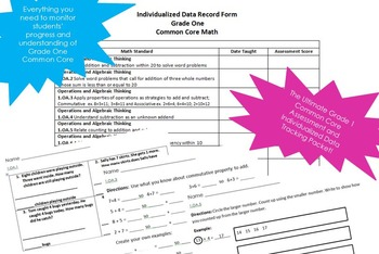 Math Assessment Packet Grade One Common Core