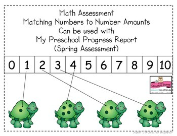 Math Assessment Page Matching Numerals to Number Amounts