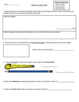 2nd Grade Math Assessment Homework Practice Worksheets:Common Core -[Pack2]