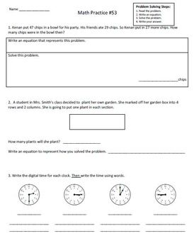 2nd Grade Math Assessment  Homework Practice Worksheets: Common Core - [Pack4]